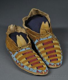 Arapaho Beaded Hide Moccasins