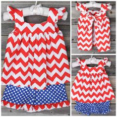 American Flag Chevron Gracie Short Set from Smocked Auctions. Perfect for Memorial Day, Homecomings or the Fourth of July! #SmockedAuctions