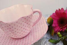 Shelley China Tea Cup and Saucer, Dainty Pink Stars and Polka Dots.