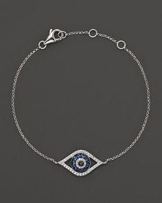 Bloomingdale's Diamond and Sapphire Evil Eye Bracelet in 14K White Gold on shopstyle.com