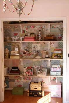 Craft Closet. Nice way to gather all those things made by me & the family.