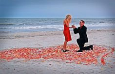 This is my kind of proposal. The beach, the photographer waiting to get the first real reaction and maybe even friends waiting where I couldn't see them. Maybe a sunset instead of the rainy clouds. Yep that's a Jenn proposal :)