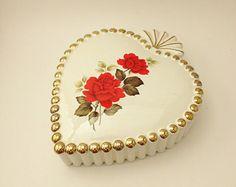 Vintage Heart Box Roses Gilt Hobnail Lidded Heart Box Red Roses