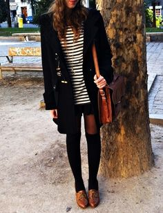 brown oxfords with black knee socks and black tights