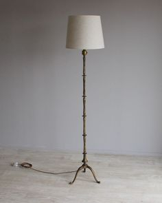 French brass bamboo style floor lamp