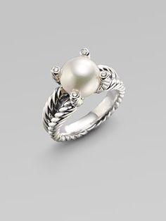 David Yurman White Freshwater Pearl, Diamond & Sterling Silver Ring $525