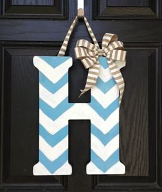 Chevron letter//Light blue and White//18 inch// Burlap Bow via Etsy