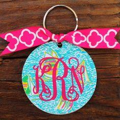 / Lilly Pulitzer Inspired Monogram Key Chain