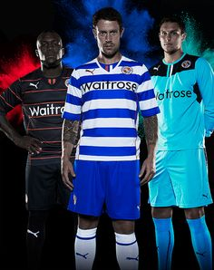 Reading FC Kit 2013/14 Graphic   Wayne Bridge, Royston Drenthe and Alex McCarthy   Cream Design