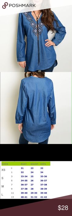 Denim Tunic Embroidered denim tunic.  Another great add for the cooler weather! Material: 100% Cotton.  Price is firm unless bundled  Tops