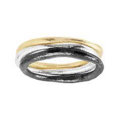 "These stacking rings inspire an organic feel with their tapered, uneven texture. Crafted in sterling silver, 14K gold plate, and black rhodium plate, these stacking rings can be worn separately or all together for a multi-tone look. Ring face measures 1/4 inches in width. Piece comes with a "".925"" sterling silver quality stamp as a symbol of guaranteed product quality."