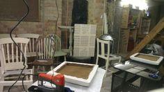 Upholstering in progress in the workshop
