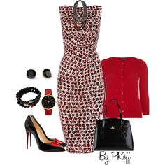Red & Black by pkoff on Polyvore featuring Linea, Dorothy Perkins, Christian Louboutin, Vivienne Westwood, Mary Margrill, Larsson & Jennings, Weekend Max Mara and Kate Spade