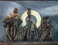 Frottage / grattage (avec couches de peintures) Max Ernst. La grande forêt, 1927