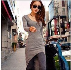 free shipping 2013 womens new fashion spring gray black irregular skirt maxi dress sexy club dresses lady long t shirts top 416-inDresses from Apparel & Accessories on Aliexpress.com
