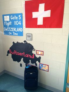 """*KRRRRK* """"This is your captain speaking. Make your way over to gate number 5. Flight 1104 to Switzerland will be boarding soon."""" What a great airport decoration for Big World Recess, Sonnie Penn Elementary in Woodbridge, VA."""