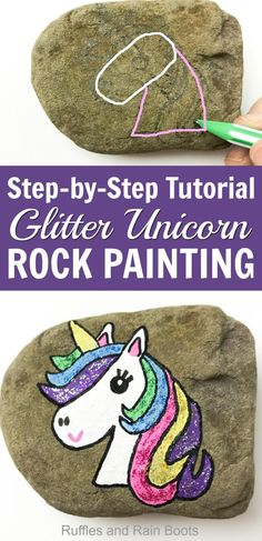Make this wonderful unicorn rock painting idea today - it's only a couple of steps! Glitter optional, fabulousness mandatory. #rockpainting #rockpaintingideas #rufflesandrainboots via @momtoelise
