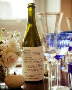 Creative Wedding & Event Menus - Wine Bottle Menu Cards