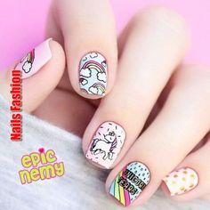 cute unicorn nails for kids ~ nails kids cute ` nails kids cute easy ` cute nails for kids ` kids nail designs cute ` nails for kids cute short ` kids nails cute simple ` cute unicorn nails for kids ` cute acrylic nails for kids Unicorn Nails Designs, Unicorn Nail Art, Cute Nail Art, Cute Nails, My Nails, Tumblr Nail Art, Nail Art For Kids, Nagel Hacks, Kawaii Nails