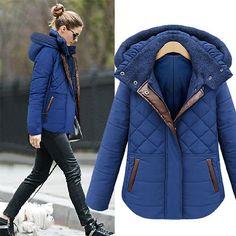 110e8fc287 [grxjy560811]Warm Simple Spliced Diamond Check Embossed Hood Women's Coat.  Cheap Winter BootsDown ParkaParka CoatWinter Jackets WomenCoats For ...