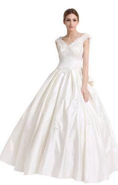 A-Line/Princess V-neck Floor-Length Lace-up Wedding Dress With Appliques/Bowknot(11010382) 12 White Biggoldapple,http://www.amazon.com/dp/B00BT7ZNHI/ref=cm_sw_r_pi_dp_8fsrrb0MJT6BV0FN