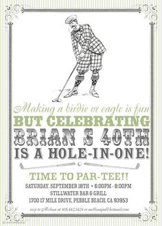 Vintage Golf Party Invitation