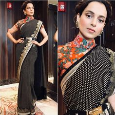 Spotted: Kangana Ranaut looks like a diva in a saree from the latest collection of Shop this look at Carma by sending us a screenshot at Sari Blouse Designs, Fancy Blouse Designs, Designer Blouse Patterns, Latest Blouse Designs, Sabyasachi, Lehenga, Anarkali, Saree Draping Styles, Saree Styles