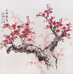Cherry blossoms Chinese painting