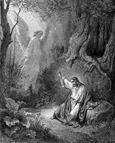 Ángel en el Huerto de Getsemaní  El Evangelio de Lucas con imágenes. Lucas con ilustraciones. Gustave Dore, Ch. 1-24