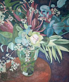 Title: Still life with Fynbos Flowers Medium: Oil paint on stretched canvas Size: x Protea Art, Hardy Plants, Floral Illustrations, Stretched Canvas, Amazing Flowers, Botanical Art, Canvas Size, Still Life, Art Drawings