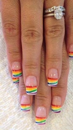 Rainbow nails My nail designs Rainbow nail art, Rainbow nails nail design french tip - Nail Desing