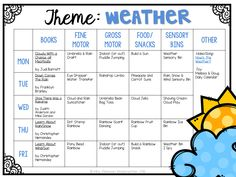 Tons of weather themed activities and ideas. Weekly plan includes books fine motor gross motor sensory bins snacks and more! Perfect for tot school preschool or kindergarten. Preschool Lessons, Preschool Classroom, Preschool Learning, In Kindergarten, Preschool Activities, Themes For Preschool, Toddler Themes, Group Activities, Home School Preschool