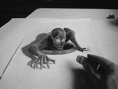Awesome Pencil Drawings for Inspiration 3d Pencil Art, 3d Pencil Sketches, Cartoon Pencil Drawing, 3d Art Drawing, 3d Drawings, Cartoon Drawings, Drawing Ideas, Creepy Drawings, Illusion Drawings