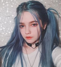 Preferred Hair Blue Long Straight Wig of Human Hair with Baby Hair Brazilian Ombre Lace Front Wig for Women Pretty People, Beautiful People, Pelo Multicolor, Pinterest Hair, Aesthetic Girl, Blue Hair Aesthetic, Ulzzang Girl, Lace Front Wigs, Cute Hairstyles