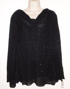 Talbots Woman Petite 3X 24W Beaded Top NEW Black Silk NWT Embellished Plus #Talbots #Blouse #EveningOccasion