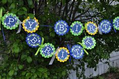 Boys 1st Birthday Banner - Pinwheels and Argyle - Personalized