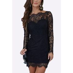 Yoins Lace Backless Mini Dress in Black ($18) ❤ liked on Polyvore featuring dresses, black, long-sleeve mini dress, mini dress, long sleeve dress, short dresses and long sleeve short dress