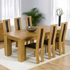 Valencia Oak 200cm Dining Table with 6 Denver Chairs