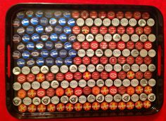 Wow -- somethng to do with those beer caps! Labor Day Red White and Blue American Flag Beer Cap Serving Tray
