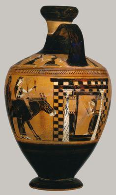 Lekythos, ca. 550 B.C.; black-figure Attributed to the Amasis Painter Greek, Attic