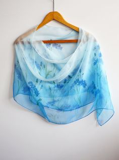 Hand Painted Silk Scarf with Blue Cornflowers. Silk Scarf Blue   Handpained, batik   Scarf for woman   gift for her   transparent scarf