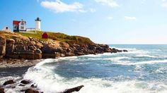 Cape Neddick, Maine. Features scenic drives, unique shoreside spots, and amazing scenery just like this. #honeymoon #Maine #travel
