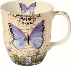IHR Moments of Romance cream Butterfly Garden Floral Bone China Country Mug Set BOC727460