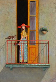 Girl on the balcony Art Print by David Martiashvili. All prints are professionally printed, packaged, and shipped within 3 - 4 business days. Choose from multiple sizes and hundreds of frame and mat options. Art Brut, Poster Prints, Art Prints, Whimsical Art, Artist Painting, Painting Techniques, Cat Art, Painting Inspiration, Female Art