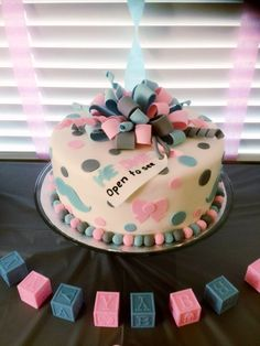 Photos of Cake & Candy Specialties - Citrus Heights, CA. Cake & Candy did an amazing job on our gender reveal cake! Our cake came out perfect! Baby Shower Gender Reveal, Baby Gender, Baby Reveal Cakes, Bebe Shower, Cake Quotes, Gender Party, Baby Time, Reveal Parties, Baby Party