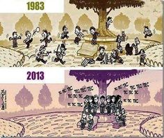 Funny pictures about Kids playing then and now. Oh, and cool pics about Kids playing then and now. Also, Kids playing then and now. Then Vs Now, Satirical Illustrations, Funny Memes, Jokes, Hilarious Sayings, Videos Funny, Viral Videos, Funny Quotes, Reality Of Life