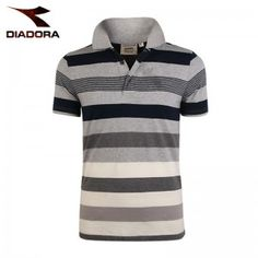 Diadora Men's Polo T-shirt stripe short sleeve fit models