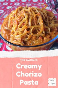 A delicious and quick recipe that even has hidden vegetables.   This Thermomix Creamy Chorizo Pasta a one-pot recipe, minimising the washing up.  Lots of hidden vegetables too!  #feistytapas #thermomix