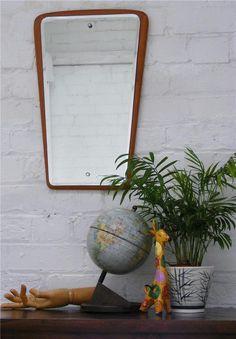 Mid century vintage solid teak frame Danish style vintage wall mirror Amorphic