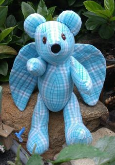 Angel Memory Bear made from clothing image 1 Memory Pillows, Memory Quilts, Memory Crafts, Keepsake Crafts, Mens Work Shirts, Angel Bear, Angel Crafts, Memorial Gifts, Funeral Memorial